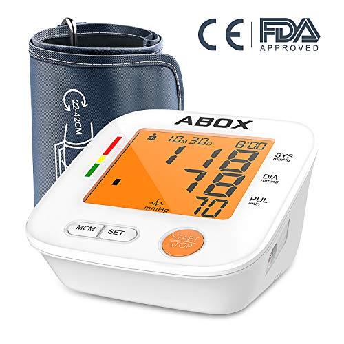 Digitale Oberarm-Blutdruckmessgeräte,ABOX elektrische Sphygmomanometer mit Oberarmumfänge 22-42cm,für zwei Nutzer (2x 90 speicherbare Messungen)mit WHO Anzeige,verfügt über Einknopfbedienung, 3.2 inch Display mit orange Hintergrundbeleuchtung,und Arrhythmie-Erkennung-Modell U80H,weiß