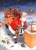 Advents-Kalender Weihnachtsmann auf dem Dach