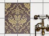 Fliesen Sticker Aufkleber Folie selbstklebend | Fliesenaufkleber abwaschbare Bad renovieren Küche Dekoration Bad | 20x25 cm Design Motiv Retro Revival - 4 Stück