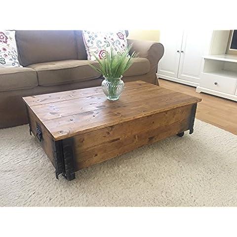 Shabby Chic - Mesa auxiliar de madera color nogal vintage
