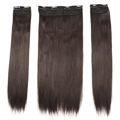 "TESS Clip in Extensions wie Echthaar Haarverlängerung Dunkelbraun Haarteile 3 Tressen 8 Clips dicke komplette Haarverdichtung Glatt 20""(50cm)-190g"
