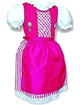 Kinderdirndl mit Satin Schürze # 424 Festliches Dirndl mit Stickerei Gr 74-134 Dirndl Kinder 3 Teilig