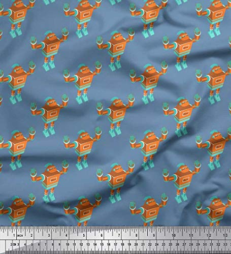 Soimoi Blau Baumwoll-Popeline Stoff Roboter Kinder Drucken Nahen Stoff 1 Meter 56 Zoll breit