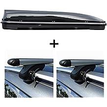 VDP Dachbox schwarz Juxt 600 gro/ßer Dachkoffer 600 Liter abschlie/ßbar Alu-Relingtr/äger Dachgep/äcktr/äger f/ür aufliegende Reling im Set f/ür BMW 5er F11 Touring ab 13