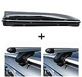 Dachbox schwarz VDP JUFL460 großer Stabiler Dachkoffer abschließbar + Alu-Relingträger Dachgepäckträger für Ford Kuga ab 08