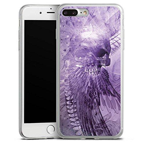 Apple iPhone 8 Plus Slim Case Silikon Hülle Schutzhülle Skull Totenkopf Lila Silikon Slim Case transparent