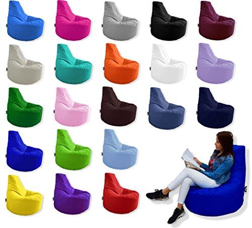 Patchhome Gamer Kissen Lounge Kissen Sitzsack Sessel Sitzkissen In & Outdoor geeignet fertig befüllt | Weiß - Ø 75cm x Höhe 80cm - in 2 Größen und 25 Farben