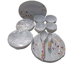 Larah Hosta Microwave safe Glass Dinner Set, 36 Pieces, White