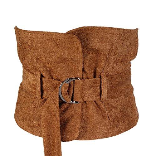 Junjiagao Frauen Gürtel Pullover Mantel Breiten Gürtel Dekoration Jog Taille Gürtel Schwan Flanell Doppel Ring Schnalle (Farbe : Camel) -
