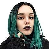ZJYUAN Synthetische Lace Front Perücken Glatt Bubikopf Synthetische Haare Bob-Frisur mit Mittelscheitel/Natürlicher Haaransatz Grün Perücke Damen Spitzenfront 18 inch