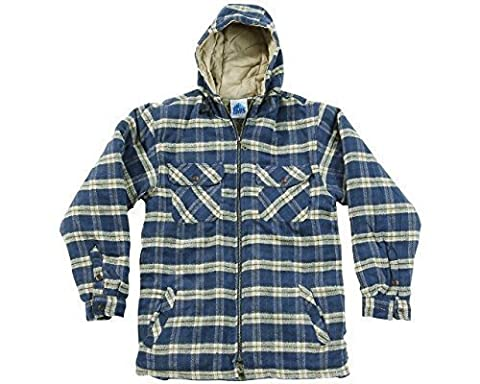 Mens Heavyweight Warm Hooded Check Sherpa Fleece Lined Fur Shirt Penarth Jacket Hoodie Full Zip Superior Premium Weight Hardwearing Toggle Adjuster To Hood Blue Castle Designed By Tuff Stuff Suitable For Work Leisure Workwear Outerwear Walking Countrywear Blue