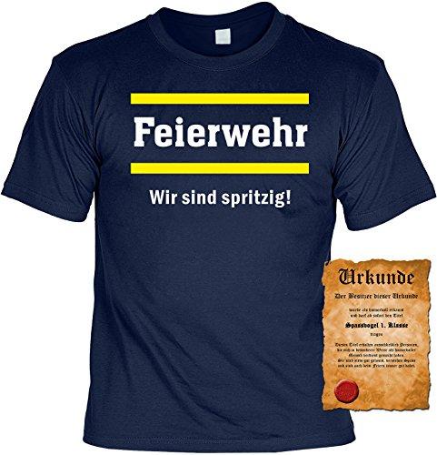 Witziges Trink- Spaß-Shirt Herren + gratis Fun-Urkunde: Feierwehr Navyblau