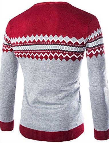 WSLCN Herren Sweatshirt gemustert Kontrastfarbe Rot / Grau