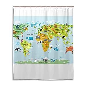 jstel Decor cortina de ducha mapa del mundo con animales patrón impresión 100% tela de poliéster cortina de ducha 60x 72cm para el hogar baño decorativo ducha baño cortinas