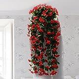 Plantas artificiales Hctina hojas del árbol falso Jardín decoración de paredes cuelgan flores rojas