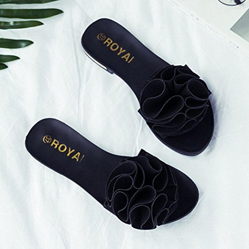 Saingace Sommer Frauen Strand Schuhe Blume flache Sandalen Slip Resistant Pantoffeln Sandale Schwarz