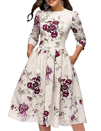 JOJJJOJ Women's 50s Floral Cocktail Vintage Retro Dresses Elegant Midi Evening Dress 3/4 Sleeves (Color : Beige, Size : L)