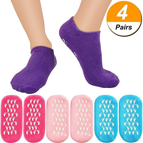 Bememo 4 Paar Feuchtigkeitsspendende Gel Ferse Socken Weiche Spa Gel Socken zum Reparieren und Erweichen Trockener, Rissiger Füße Skins (Rosa, Rose Rot, Blau und Lila) (Fuß-spa Feuchtigkeitsspendende)