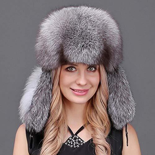 Kaijin cappelli invernali in pelliccia di volpe naturale per donna cappelli in vera feng lei 100% vera pelliccia cappelli bomber russi con top in vera pelle di montone