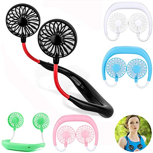 Mini Hand frei persönliche Fan Nackenbügel Sport Fan, 3 Geschwindigkeiten, tragbare USB-Batterie wiederaufladbare Doppellüfter, 360-Grad-Anpassung für Home-Office-Reisen Indoor Outdoor-Aktivitäten (sc (Wiederaufladbare Fan)