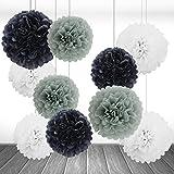 10er Set Grau Weiß Schwarz Seidenpapier PomPoms Papierblume Hochzeit Party Baby Shower Dekoration Deko - 25cm&35cm