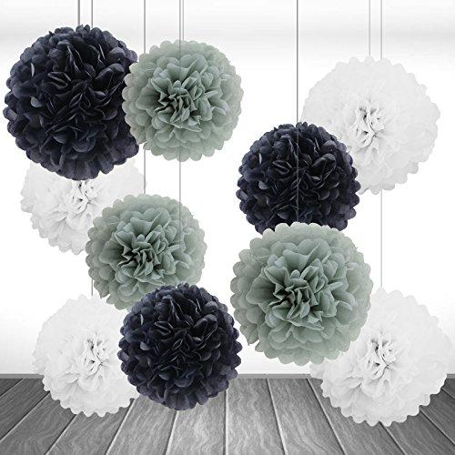 10er Set Grau Weiß Schwarz Seidenpapier PomPoms Papierblume Hochzeit Party Baby Shower Dekoration Deko - ()