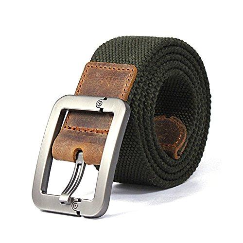 Forepin® Men's Webbing Belt Stile casuale Cintura Canvas Monili Registrabili Vita Web Cintura con Fibbia Kirsite e 9 Buche a Nastro - Cintura Lunghezza 125 cm (Army