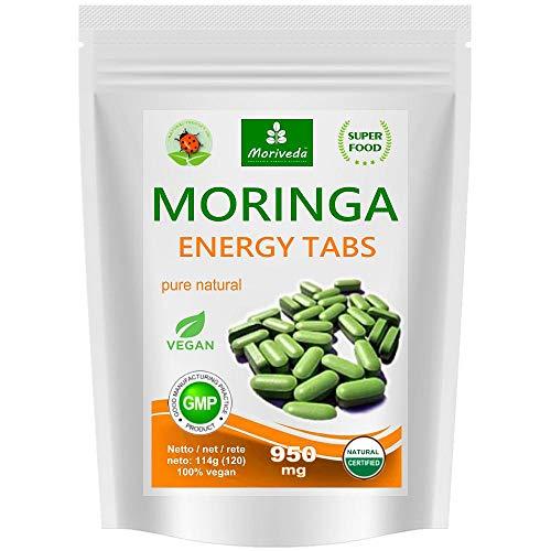 Moringa Energy Tabs 950mg oder Moringa Kapseln 600mg - Oleifera, vegan, Qualitätsprodukt von MoriVeda (120 Presslinge)