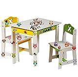 alles-meine.de GmbH Stuhl für Kinder - Stabiles Holz -  Weiß / Gelb  - Incl. Name - Beistellstuh..