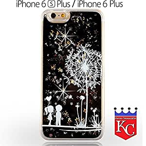 KC Lover Liquid Bling Glitter Sparkle Stars Case Printed Flower Transparent Hard Back Cover for iPhone 6 Plus & iPhone 6s Plus - Black Colour