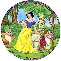 "Disney Princess Snow White 7.5"" Round personalised birthday cake topper printed on icing"