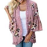 TEBAISE Frühlings-Frauen-Täglicher Weicher Klage-Druck-Spitze-Blumen-Geöffnete Kap-beiläufige Mantel-Lose Bluse Kimono-Jacken-Wolljacken-Oberbekleidung(Rosa,EU-46/CN-L)