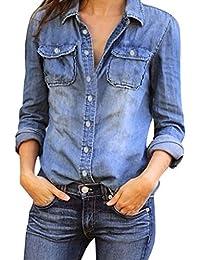 Ansenesna Femme Chemise Femme Jean Denim T-Shirt à Manches Longues Hauts  Casual Blouse Elégant 6a4b30060c86