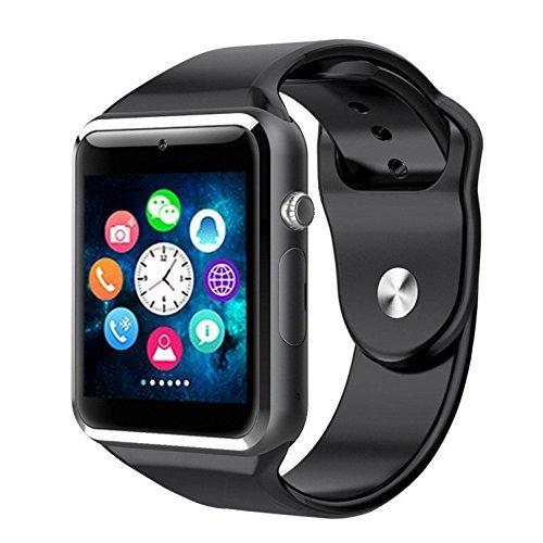 Pandaoo tragbare Bluetooth-Smart-Watch, A1Smart-Schrittzähler, Schlaf Monitor, Anruf/SMS/SNS-Benachrichtigung, Armbanduhr, Telefon-Uhr mit SIM-Karten-Slot für Android [alle Funktionen] IOS [teilweise Funktionen]