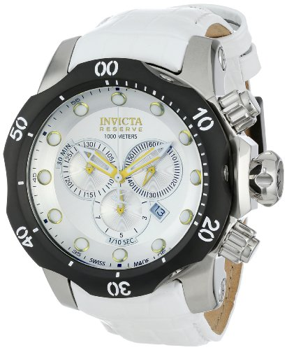 Invicta Men's 54mm White Leather Band Steel Case Swiss Quartz Silver-Tone Dial Analog Watch 11856