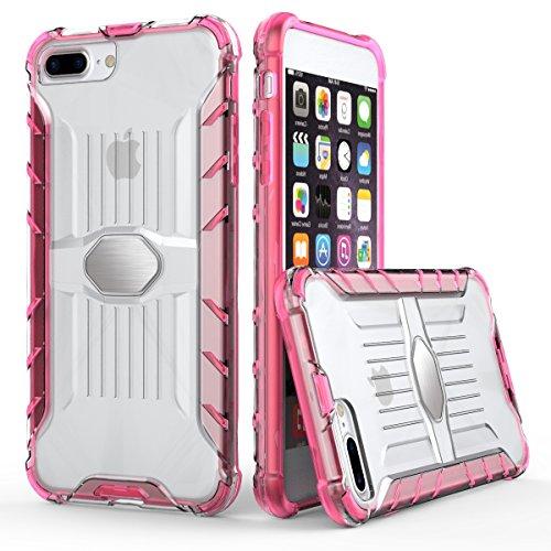 """iPhone 7 Plus Transparent Coque,EVERGREENBUYING Ultra Slim léger 2 en 1 iPhone 7+ Cases Housse Plaque métallique Etui Hard Shell Back Cover Pour iPhone 7 Plus (5.5"""") Noir Bébé Rose"""