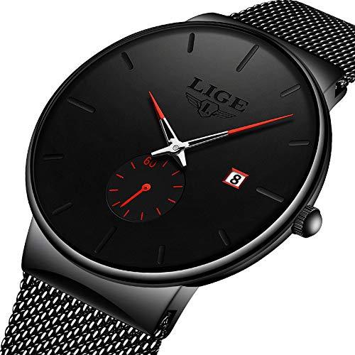 Uhren Herren,LIGE Wasserdicht Edelstahl Mode Schwarz Analog Quarz Uhr Datum Männer Kleid Casual Armbanduhr mit Mesh Band