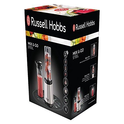 Russell Hobbs Mix & Go Steel 23470-56 Standmixer/Smoothie Maker (300 W, mit zwei Trinkflaschen) edelstahl