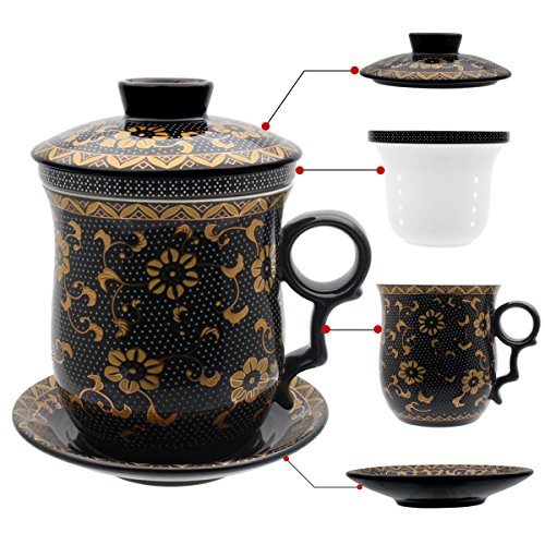 Tasse à thé Hollihi avec couvercle, soucoupe, filtre, en porcelaine chinoise de Jingdezhen
