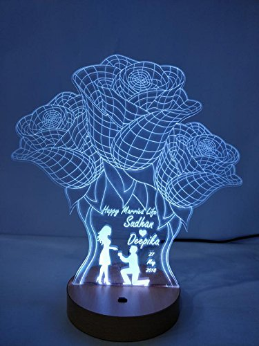 DESIGN ELLE Acrylic Modify 3d Illusion Led Lamp (8-10inch, Wooden)