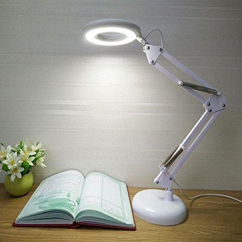 HAIYUANNAN Metall LED Tischlampe, Lupe, 3 Ebenen Helligkeit, 360 Degress Rotating, Leselampe