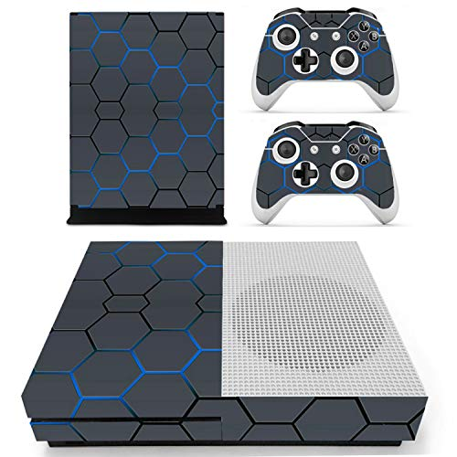 Price comparison product image FLY-happiness Mesh grid style Vinyl Skin Sticker for the Xbox One S Console With Two Wireless Controller Decals