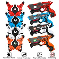 VATOS Infrared Laser Tag Guns Set with Vests, Laser Tag Game Toy for Kids and Adults Indoor Outdoor Group Activity Laser Battle Blaster Gun| Best gift for kids Age 6 7 8 9 10 11 12+ Boy Girl 4 Players