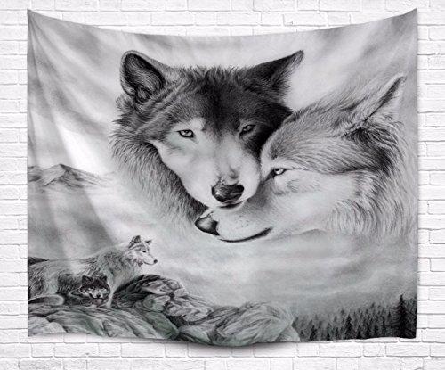 A.Monamour Tapices Imagen En Blanco Y Negro Parejas De Lobo Amante De Los Animales Tela Tema Tapicería De Pared Para Decoraciones De Dormitorio 229X153cm / 90