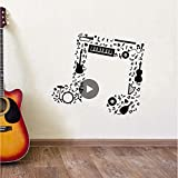 Qthxqa Note De Musique Sticker Mural Guitare Saxophone Flûte Tambours Batterie Orchestre Sticker Nouveau Design Notes De Musique Vinyle Wall Art Peintures Murales 1246