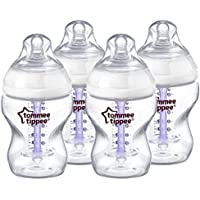 Tommee Tippee Advanced Comfort Vented Bottles, 260 ml/9 floz, Pack of 4 + Slow Flow Teats