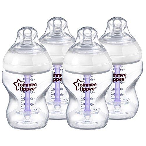 Tommee Tippee Advanced Comfort Vented Bottles, 260 ml/9 floz, Pack of 4 + Slow Flow Teats