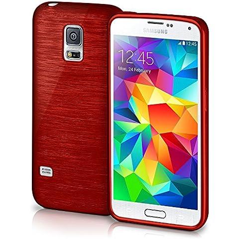 Funda protectora OneFlow para funda Samsung Galaxy S5 / S5 Neo Carcasa silicona TPU 1,5mm | Accesorios cubierta protección móvil | Funda móvil paragolpes bolso cepillado aluminio diseño en Crimson-Red