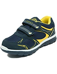 Asian shoes JUNIOR-13 Dark Navy Blue Yellow Mesh kIDS Shoes