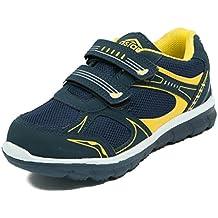 Asian shoes JUNIOR-13 Dark Navy Blue Yellow Mesh kIDS Shoes